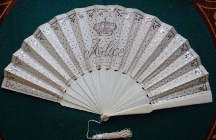 Antique British Victorian Royal Souvenir Fan Birth of Princess Alice